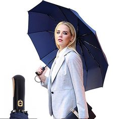 VILLASON 60 MPH Windproof Compact Travel Umbrella with Reinforced Unbreakable 10 RibsAuto Open