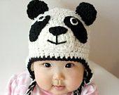 Panda Hat, Panda Bear, Crochet Baby Hat, Baby Hat, Animal Hat, Black, White, photo prop