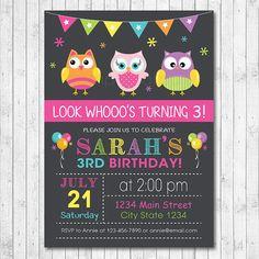 Owls Invitation Owl Invite Owls Birthday Owl by funkymushrooms