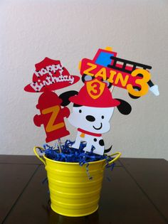 Fire Truck Theme Centerpiece Toppers 1 set by Getcreativewithkay, $17.00