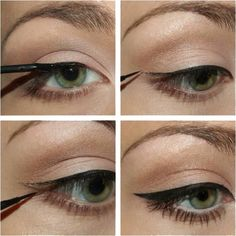"""Simple eyeliner tutorial History of eye makeup """"Eye care"""", put simply, """"eye make-up"""" has always Eyeliner Make-up, Eyeliner Styles, How To Apply Eyeliner, Eyeliner Hacks, Black Eyeliner, Natural Eyeliner, Eyeliner Ideas, Natural Makeup, Applying Eyeliner"""