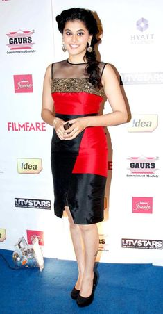 Taapsee Pannu at the Filmfare pre-awards party. #Style #Bollywood #Fashion #Beauty