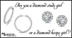 Hoops or studs?  Which one is your jewelry wardrobe staple?  #DiamondStuds #DiamondHoops #DiamondEarrings #HoopEarrings