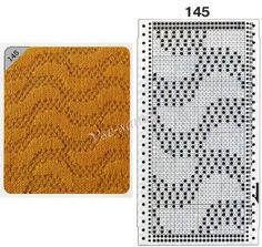 Pattern 145 - False openwork and card for the knitting machine Brother Knitting Paterns, Knitting Machine Patterns, Knitting Charts, Lace Knitting, Knitting Designs, Knit Purl Stitches, Needlepoint Stitches, Bead Loom Patterns, Stitch Patterns