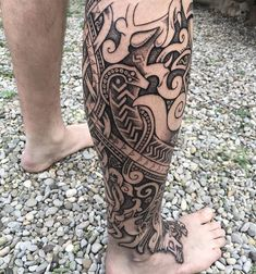 Here's a angle on Williams leg sleeve. It's far from done, but we did quite a lot in three days I think. More pictures to follow. #vikingtattoo #nordictattoo #norsetattoo #norsetattoo #dotworktattoo #runes #runetattoo #futhark #futharktattoo #legtattoo #foottattoo #knotwork #knotworktattoo #blackwork