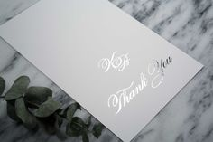 """Kurt & Blaine Thank You Note: Say """"thank you"""" with a traditional and elegant design. This design matches our Kurt & Blaine wedding suite. Shown in Silver Foil but can be personalized in any of the foil finishes."""