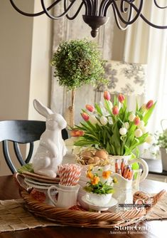 Great centerpiece on Easter buffet with large white rabbit in this white and green with pops of orange table. Easter Buffet, Easter Table, Easter Decor, Easter Ideas, Easter Centerpiece, Easter Party, Easter Crafts, Bunny Crafts, Easter Gift