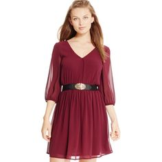 Bcx Juniors' Lattice-Back Belted Peasant Dress ($35) ❤ liked on Polyvore featuring dresses, bordeaux, red peasant dress, bordeaux dress, bcx, red belted dress and bcx dress