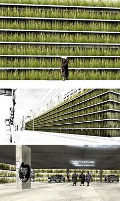 "Tokyo, Japan - Shinjuku Gardens is constructing sheltered parking spaces that provide ""green space"" in a crowded urban environment. Source: Christoph Vogl, Architecture List and fascination-of-plants.tumblr.com"