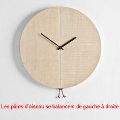 Horloge bois ronde, pendule pâtes coucou