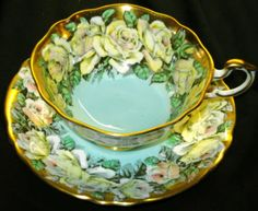 PARAGON-SET-OF-4-COLLECTION-FLOWER-CHINTZ-BORDER-TEA-CUP-AND-SAUCER-ROSES-POPPY