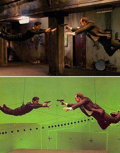 escenas del cine antes y después de los efectos especiales Matrix