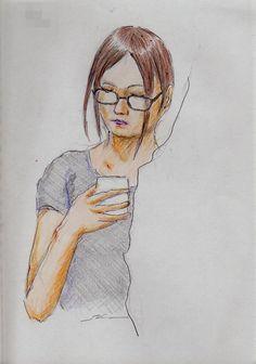 『眼鏡の内側に髪を通しているお姉さん(通勤電車でスケッチ)』 It is a sketch of the woman of glasses. I drew on the train going to work towards the company.