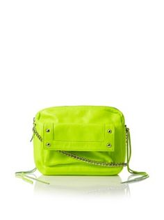 Possé Women's Andy Pouch with Chain & Leather Strap (Neon Yellow)