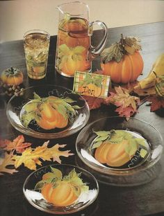 This is a great idea for a fall, halloween or thanksgiving celebration.  Instructions are in Donna Dewberry's Painted Celebrations Tole Painting  Book