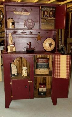 Primitive Cabinet. Love All The Prim Stuff On With It