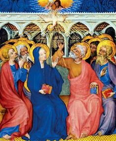 In the upper room, the Holy Spirit decesended on them