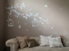 Fleur de cerisier branche avec cage à oiseaux par AmazingWall, $55.00