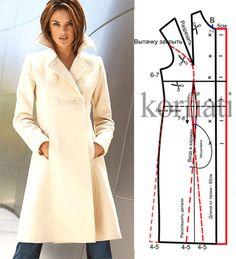 Выкройка приталенного пальто. Шикарное приталенное пальто для настоящей леди. Это именно та модель, которая должна непременно пополнить ваш гардероб! Пальто Sewing Hacks, Sewing Crafts, Skirt Patterns Sewing, Coat Patterns, Clothing Patterns, Sewing Blouses, Couture Sewing, Jacket Pattern, Pattern Drafting