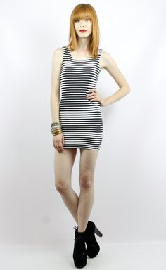 Vintage 90s Black and White Striped Bandage Mini Dress