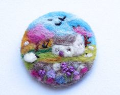 Needle felted brooch pin wool 'Beach day' sheep by iwantcraft