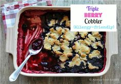 This Triple Berry Cobbler Recipe is gluten and sugar free with a grain and egg-free option. A great comfort food made healthier!