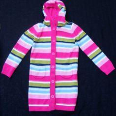 Gymboree Pink Stripes Long Sleeve Sweater with Hood, Cotton Blend,Girls Size 7-8 #Gymboree #Cardigan