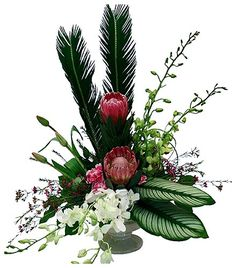 Have you ever see an artistic and also beautiful flower arrangement that can be used as a sympathy message for … Contemporary Flower Arrangements, Tropical Flower Arrangements, Funeral Flower Arrangements, Exotic Flowers, Tropical Flowers, Beautiful Flowers, Purple Flowers, Spring Flowers, Church Flowers