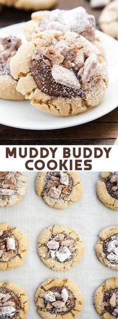 Muddy Buddy Cookies turn the popular chocolate and peanut butter snack into a delicious cookie. Soft and chewy peanut butter cookie topped with chocolate, powdered sugar and actual muddy buddies! Peanut Butter Snacks, Chewy Peanut Butter Cookies, Yummy Cookies, Cookies Soft, Chocolate Cookies, Easy No Bake Desserts, Dessert Recipes, Bar Recipes, Easter Recipes