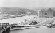 """The Point"" in 1954 at the start of its development into Pittsburgh's beautiful Point State Park"