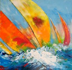 Joce Artiste Peintre :: Voiles Sailboat Art, Sailboat Painting, Sailboats, Watercolor Art, Sailing, Abstract Art, Projects To Try, Stained Glass Windows, Yachts