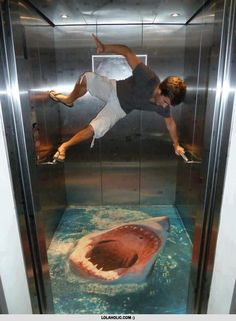 3D ART Streetart in de lift