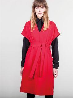 Naughty Dog FW1617 red V neck dress