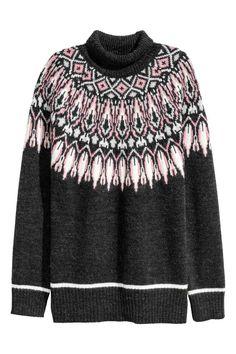 Jacquard-knit polo-neck jumper: Wide, jacquard-knit, polo-neck jumper in a soft wool blend with long raglan sleeves and ribbing at the cuffs and hem.