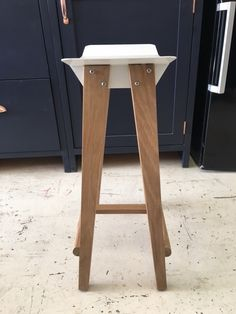 Steel and Oak Stool by Holly Wood Furniture