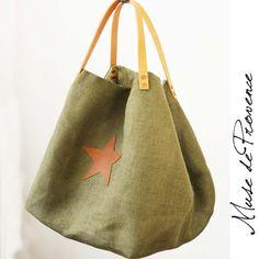 sac de plage en jute &cuir