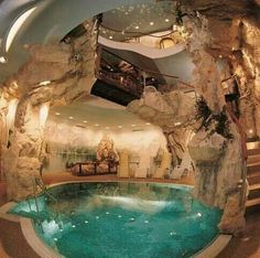 Cabe house This is spectacular!! Indoor Pools, Indoor Jacuzzi, Lap Pools, Backyard Pools, Pool Landscaping, Outdoor Pool, Future House, Cave Pool, Mega Mansions