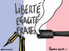 En memoria de los compañeros de Charlie Hebdo asesinados en Francia.