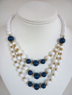 Blue White Bead Necklace by BonniesVintageAttic on Etsy