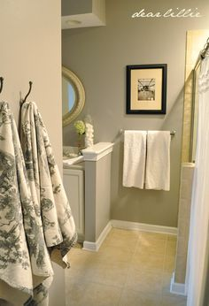 Wall Color - Stormy Monday by Benjamin Moore Cabinet Color - Ballet White by Benjamin Moore