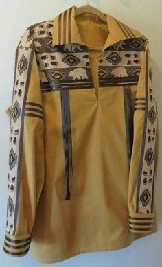 Native American Ribbon Shirt Men's Size Large by BerryBasketGifts Native American Wedding, Native American Clothing, Native American Regalia, Native American Fashion, Navajo Clothing, Native Fashion, Band Shirt, Jingle Dress, Native Wears