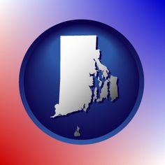 Round, blue Rhode Island map icon.