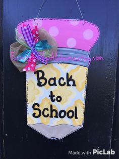 Monogram Apple door hanger,Teacher door sign,Personalized class ...