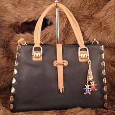 Hisako - Womens fashion #black #shoulderbags decorated with teddy bear ornament