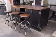 Ellis Kitchen Island and Wright Stools by Vintage Industrial Furniture