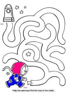 outer space worksheets for kids maze Space Theme Preschool, Space Activities, Preschool Activities, Space Coloring Pages, Kids Coloring, Maze Worksheet, Outer Space Theme, Mazes For Kids, Kindergarten Worksheets