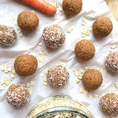 Raw Carrot Cake Bites {nut-free, gluten-free, vegan recipe}¾ - 1 cup gluten free rolled oats ½ - ¾ cup finely shredded carrots (I used a peeler) ½ cup dried mulberries (or raisins) 7 medjool dates ¼ cup water 1 tsp vanilla extract 1 tsp cinnamon ½ tsp nutmeg ¼ tsp ground cloves OR ginger, whatever you prefer!