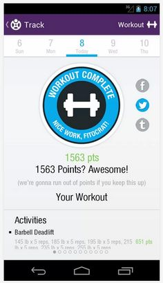 Fitocracy mobile dashboard