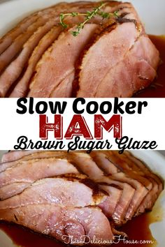 The BEST Slow Cooker Ham with Brown Sugar Glaze! Make a boneless half ham in your slow cooker with excellent results! #slowcookerham #bonelesshalfham Barbecue Recipes, Grilling Recipes, Crockpot Recipes, Cooking Recipes, Bbq, Thanksgiving Dinner Recipes, Thanksgiving Side Dishes, Brown Sugar Glaze, Best Slow Cooker