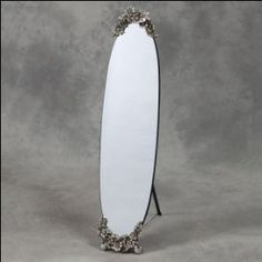 Oval Frameless Cheval Dressing Mirror with Silver Floral Decoration